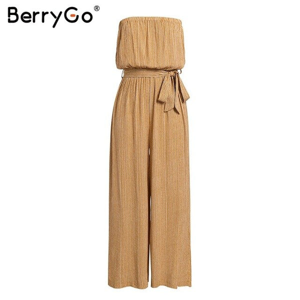 BerryGo Off shoulder sexy jumpsuit women rompers elegant Sashes jumpsuit long romper Summer leopard print overalls playsuit 2019