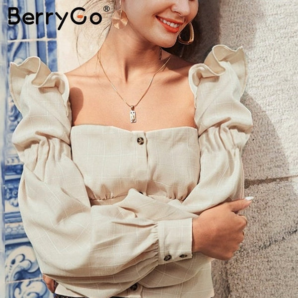 BerryGo Ruffled off shoulder women crop tops Autumn elegant button lantern sleeve female tops Party wear ladies casual tops 2019