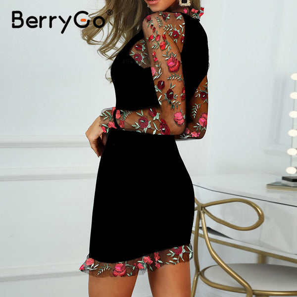 BerryGo Sexy embroidery women party dress Vintage floral printed slim female bodycon dress Long sleeve ladies club midi dresses