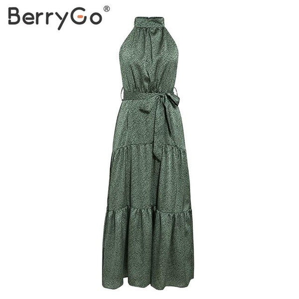 BerryGo Sexy halter neck sleeveless dress women Spring summer print sash elegant 2020 vestidos Vintage green long holiday dress