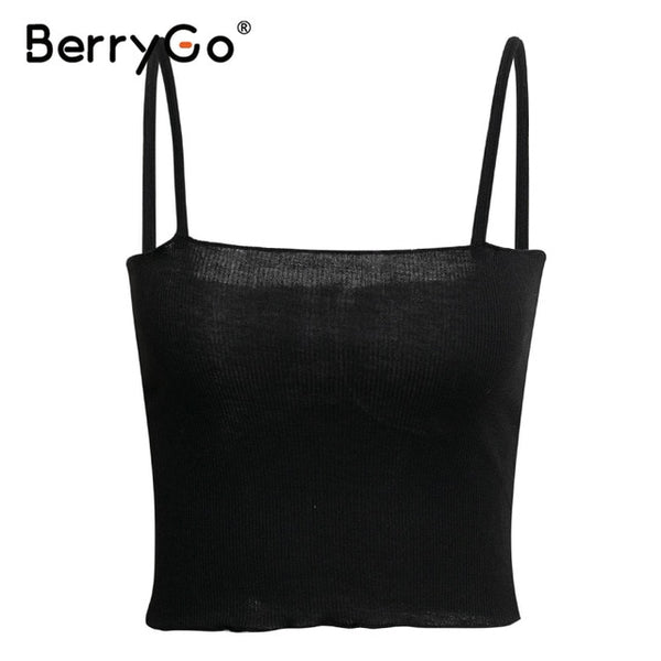 BerryGo Sexy knitted camis women tank tops Spaghetti strap white female tops Ruffled high waist party club ladies summer tops