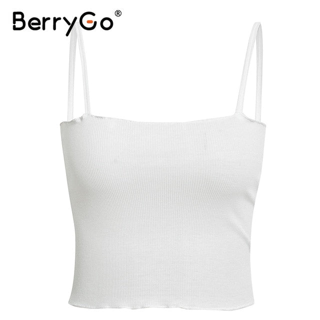 BerryGo Sexy knitted camis women tank tops Spaghetti strap white female tops Ruffled high waist party club ladies summer tops - Slabiti