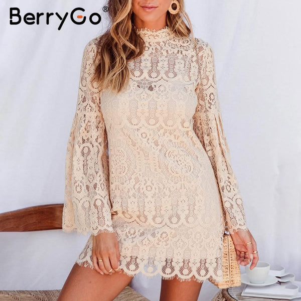 BerryGo Sexy lace embroidery women dress Elegant flare sleeve short party dresses female Ruffled ladies autumn dresses vestidos
