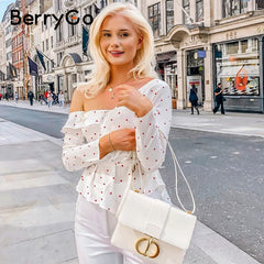 BerryGo Sexy ruffle white polka dot women cotton blouse Asymmetrical one shoulder blouses shirts High street party tops female - Slabiti