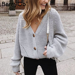 BerryGo Sexy v-neck women knitted cardigan Casual button bat sleeve white sweater cardigan Autumn winter loose knit sweater coat - Slabiti