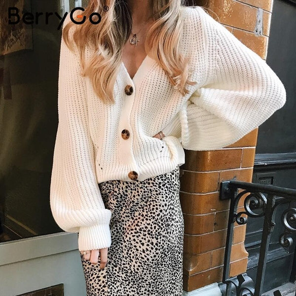 BerryGo Sexy v-neck women knitted cardigan Casual button bat sleeve white sweater cardigan Autumn winter loose knit sweater coat