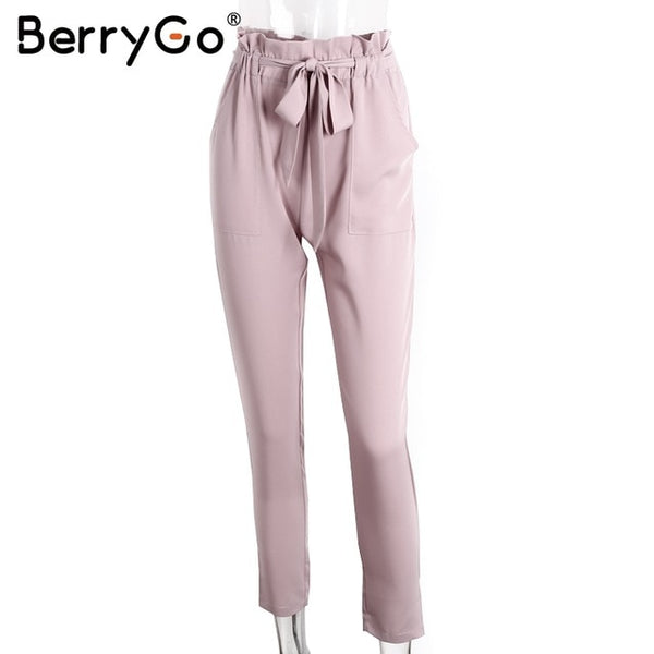 BerryGo Stringyselvedge chiffon high waist harem pants Women summer style long casual pants female office lady black trousers