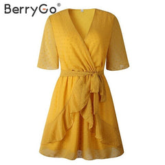 BerryGo V-neck casual summer dresses women Ruffled sash wrap A-line dress Sort sleeve beach flower ladies mini short dresses - Slabiti