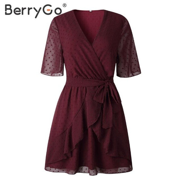 BerryGo V-neck casual summer dresses women Ruffled sash wrap A-line dress Sort sleeve beach flower ladies mini short dresses