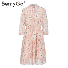 BerryGo Vintage floral print boho dress women Casual long sleeve spring chic party dress High waist work wear office lady dress - Slabiti