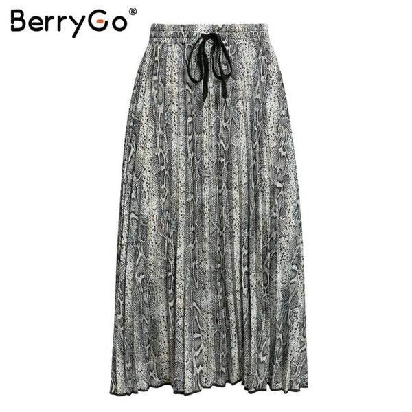 BerryGo Vintage leopard print midi skirt Women punk korean skirt fashion 2018 Sexy high waist ladies pleated retro autumn skirts
