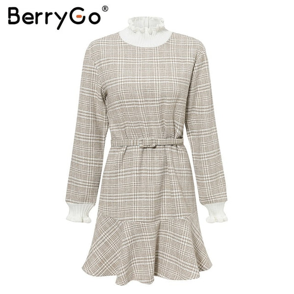 BerryGo Winter plaid mini dresses women Turtle neck tweed short dress female Vintage ruffle sash autumn office ladies vestidos