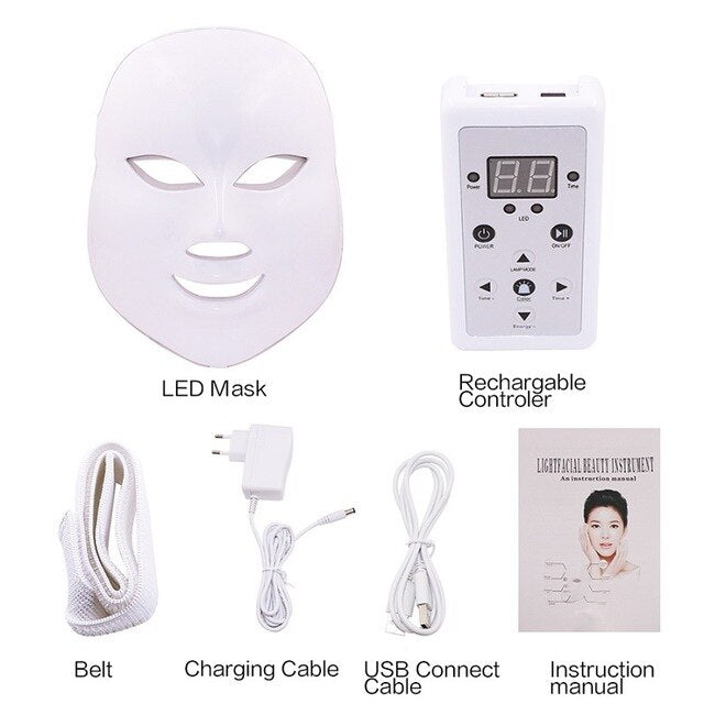 Beurha 7 Colors Photon Electric LED Facial Mask Skin Rejuvenation Anti Acne Wrinkle Beauty Treatment Salon Wrinkle Acne Removal - Slabiti