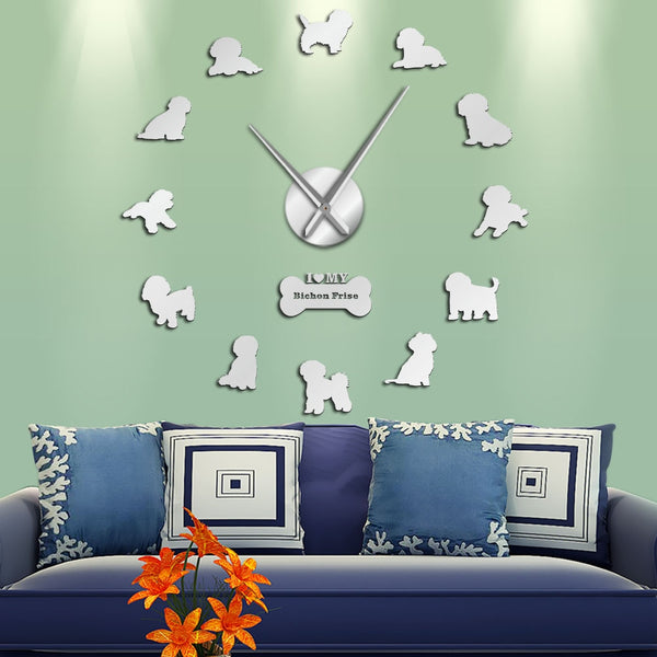 Bichon Frise Large 3D Mirror Effect Wall Clock Bichón Tenerife Silent Non Ticking Movement Clock Bichon à poil frisé Wall Watch - Slabiti