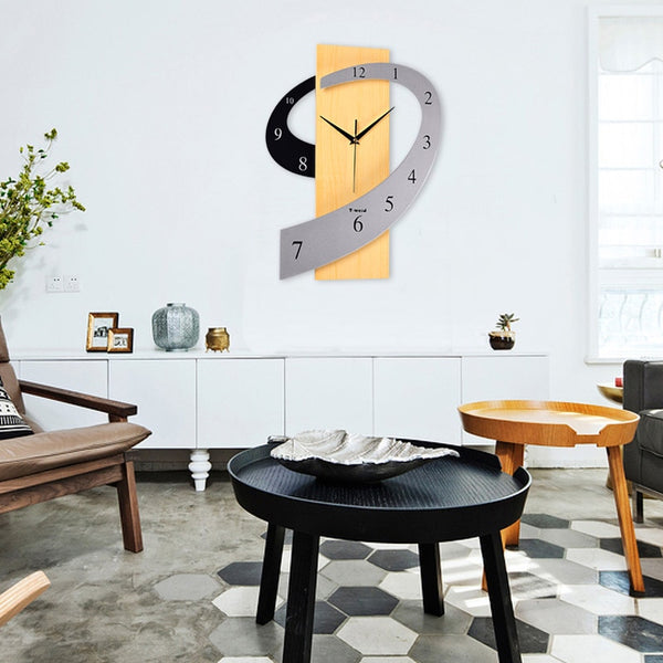 Big Wooden Wall Clock European Silent Modern Design Decorative Hanging Wall Clock Watches For Home Decor - Slabiti
