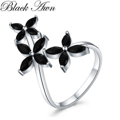 Black Awn 2019 New bijoux Trendy 925 Sterling Silver Fine Jewelry Black Spinel Engagement  Ring for Women Anillos Mujer GG069 - Slabiti