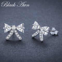 Black Awn Birthday Present Romantic 925 Sterling Silver Jewelry Engagement Bow Stud Earrings for Women Female Earring I108 - Slabiti