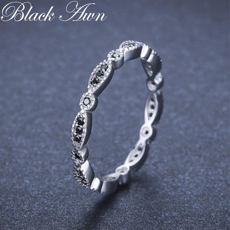 Black Awn Casual 2g 925 Sterling Silver Fine Jewelry Trendy Engagement Black Spinel Leaf Women's Wedding Ring Bijoux Femme G013 - Slabiti