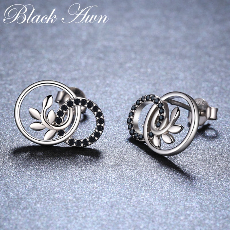 Black Awn Classic 1.78g 925 Sterling Silver Natural Black Spinel Round Wedding Stud Earrings for Women Fine Jewelry Bijoux I090 - Slabiti