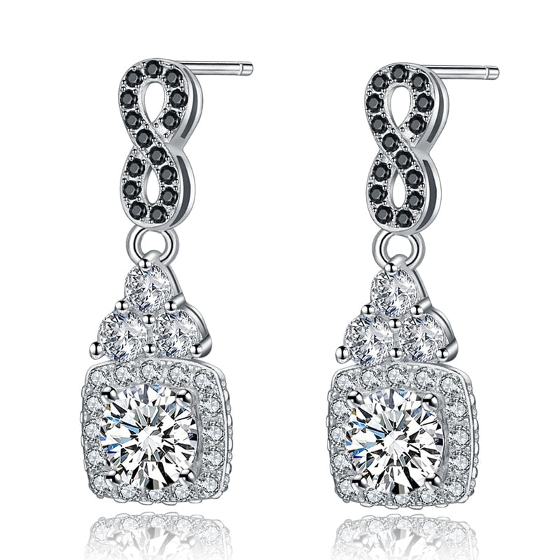 Black Awn Classic 925 Sterling Silver Fine Jewelry Trendy Engagement Earrings for Women Female Wedding Earrings  TT152 - Slabiti