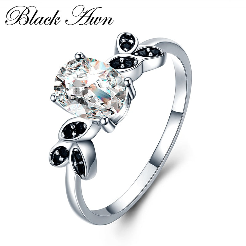 Black Awn Fashion Rings For Women Classic 925 Sterling Silver Fine Jewelry Oval Bague for Women Wedding Ring Bijoux CC034 - Slabiti