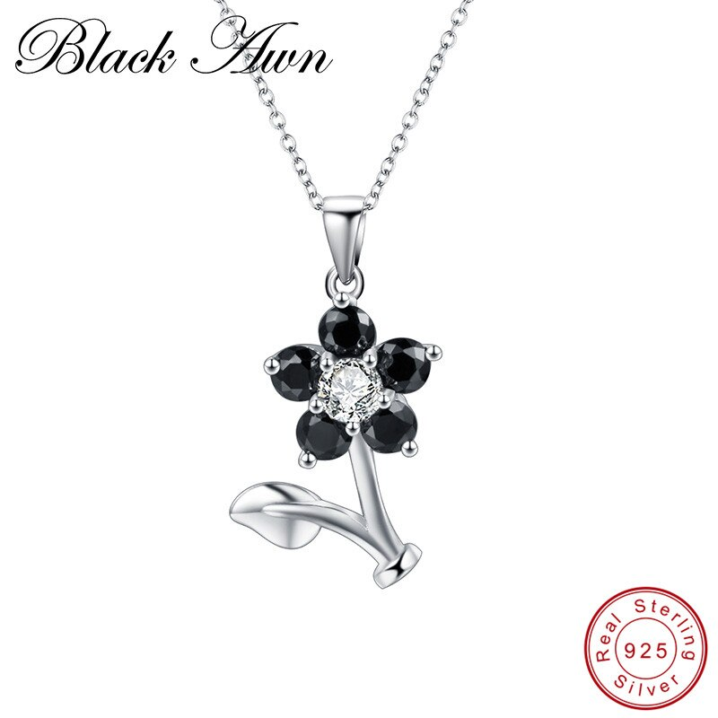 Black Awn Flower Silver Necklace Sterling Silver Design Fine Jewelry Trendy Engagement Necklaces for Women Wedding Pendants P164 - Slabiti