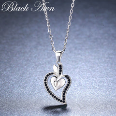 Black Awn Heart Romantic Arrive 925 Sterling Silver Fine Jewelry Trendy Flower Engagement necklaces & pendants for Women KK007 - Slabiti
