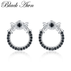 Black Awn New 925 Sterling Silver Natural Black Spinel Round Butterfly Wedding Stud Earrings for Women Fine Jewelry Bijoux I110 - Slabiti