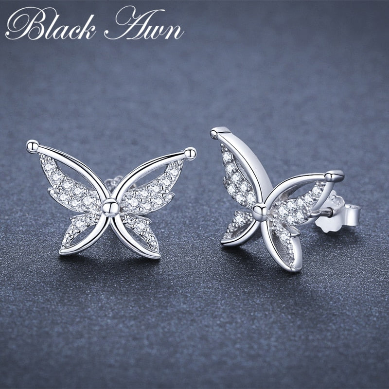 Black Awn Romantic 1.9g 925 Sterling Silver Jewelry Natural Butterfly Party Stud Earrings for Women Bijoux I111 - Slabiti