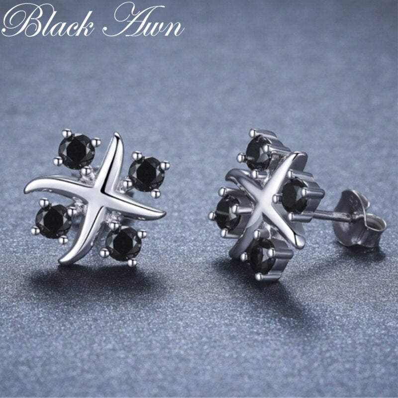 Black Awn Romantic 925 Sterling Silver Jewelry Natural Black Spinel Party Stud Earrings for Women Bijoux I118 - Slabiti
