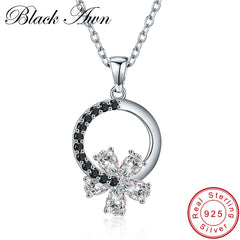 Black Awn Romantic Arrive 925 Sterling Silver Fine Jewelry Trendy Flower Engagement necklaces & pendants for Women KK001 - Slabiti