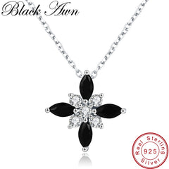 Black Awn Romantic New Arrive 925 Sterling Silver Fine Jewelry Trendy Flower Engagement necklaces & pendants for Women KK004 - Slabiti
