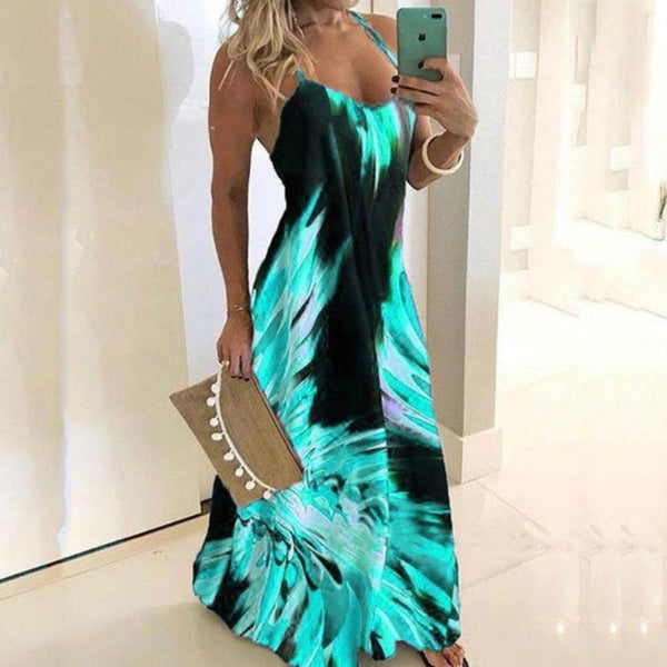 Blue Red Slim Flower Print Dress Sexy Spaghetti Strap Sleeveless Women Long Dress Summer Beach Printing Dresses Plus Size 5XL