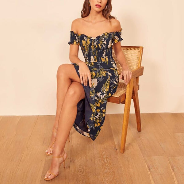 Bohemian Summer Dress 2020 Floral Casual Maxi Dress For Women Boho Dresses Off Shoulder Long Beach Vestidos Sexy Sundress - Slabiti