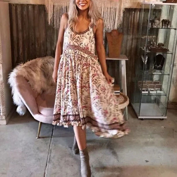 Boho Chic Dress Women Hippie Dress 2020 Summer Lady Floral Dresse Boho Spaghetti Strap Gypsy Dress  2 Colors - Slabiti