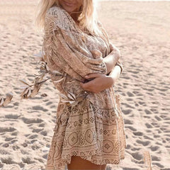 Boho Chic Summer Dress Women Vintage Dress Floral Print Ruffled Mini Dress 2020 Fashion Lace Up Tassel Beach Dresses Vestidos - Slabiti