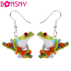 Bonsny Acrylic Cartoon Cute Frog Earrings Drop Dangle Big Long Funny Animal Jewelry For Women Girls Teen Gift Charms Accessories - Slabiti