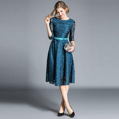 Borisovich Women Casual Dress New Brand 2018 Autumn Fashion Hollow Out Lace Big Swing Elegant Ladies Evening Party Dresses M843 - Slabiti