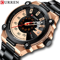 Brand Men Stainless Steel Business Watches CURREN Quartz Military Watch Fashion Causal Male Clock Auto Date Relogio Homem - Slabiti