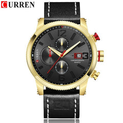 Brand New Fashion Quartz Men's Watch Chronograph Dial and Date Window Casual Business Wristwatch CURREN Leather Clock For Man - Slabiti