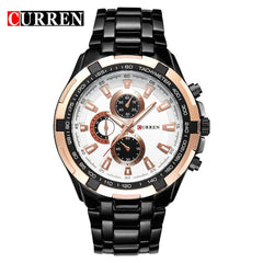CURREN 2018 New Luxury Fashion Analog Military Sports Men Watches Full Steel Band Black Quartz Male Clock Relogio Masculino - Slabiti