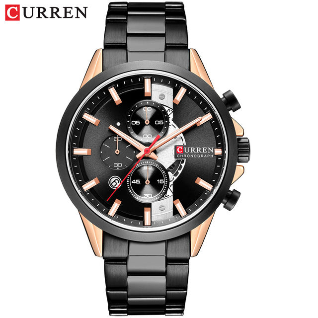 CURREN 2019 Mens Watches Fashion Sport Watch Chronograph and Calendar Wristwatch with Stainless Steel Strap Relogio Masculino - Slabiti