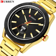 CURREN 2019 Watches for Men Casual Style Clock Date Quartz Wrist Watch with Stainless Steel Classic Design Round Dial 44 mm - Slabiti