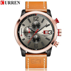 CURREN 8281 Mens Watches Waterproof Top Brand Luxury Chronograph Date Fashion Casual Genuine Leather Sport Military Male Clock - Slabiti