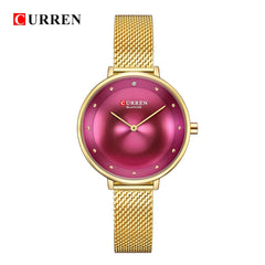 CURREN 9029 Female Quartz Watch Gem Dial Ultra Thin Mesh Strap Top Brand Female Luxury Wristwatch Girl Clock Relogio Feminino - Slabiti