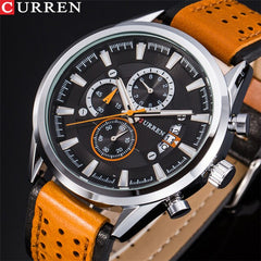 CURREN Brand Luxury Casual Military Quartz Sports Wristwatch Genuine Leather Strap Male Clock Chronograph Date Men Watches - Slabiti
