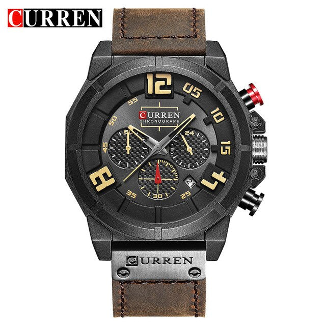 CURREN Brand Luxury Fashion Casual Leather Strap Men's Watch Military Quartz Chronograph Hot Sale Male Clock Men Wrist Watches - Slabiti