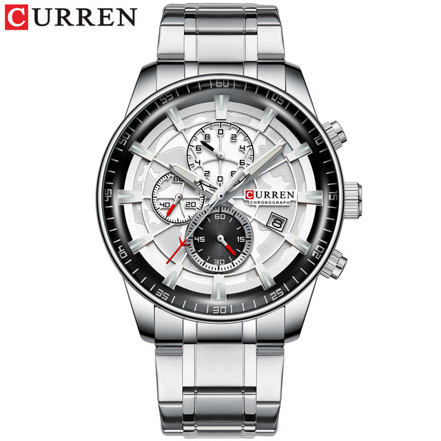 CURREN Brand Men Sport Watches Causal Stainless Steel Band Wristwatch Chronograph Auto Date Clock Male Relogio Masculino - Slabiti