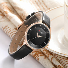 CURREN Brand Watch Women Fashion Leather Quatz Wristwatch For Womens Girls Diamond Dial 30M Waterproof Female Clock bayan saat - Slabiti