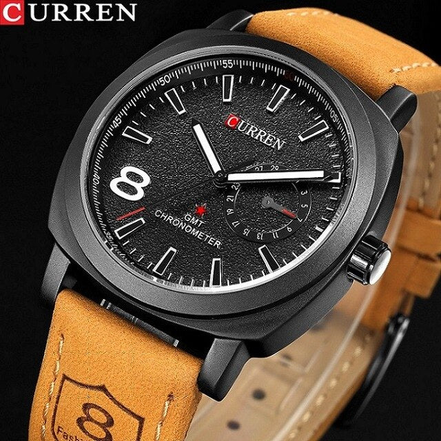 CURREN Casual Mens Watches Top Brand Luxury Men's Quartz Watch Waterproof Sport Military Watches Men Leather Relogio Masculino - Slabiti